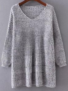 V Neck Variegated Drop Shoulder Sweater
