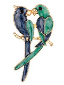Two Parrots Enamel Brooch