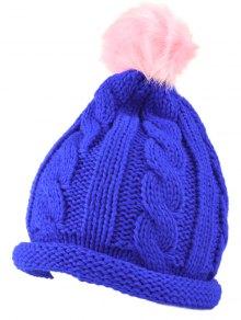 Buy Pom Ball Hemp Flowers Beanie Cap - SAPPHIRE BLUE
