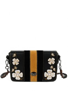 Flower Embroidery Striped Pattern Crossbody Bag