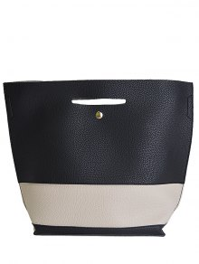 Buy Color Splicing Textured Leather Tote Bag - BLACK