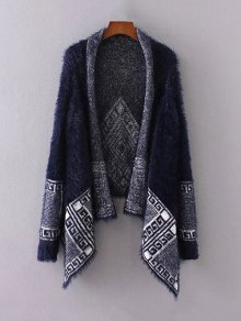 Fuzzy Printed Cape Cardigan