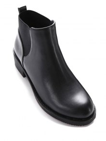 Elastic Round Toe PU Leather Ankle Boots - Black