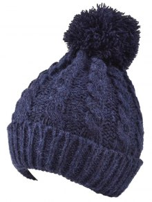 Hemp Flowers Flanging Knit Hat - Cadetblue