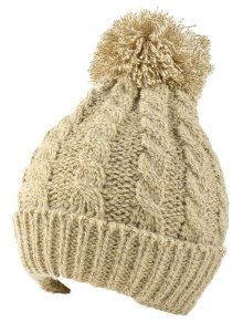 Buy Hemp Flowers Flanging Knit Hat BEIGE