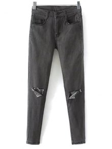 Buy Stretchy Narrow Feet Ripped Jeans - BLACK GREY XL