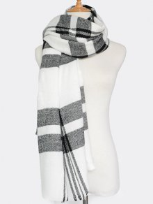 Plaid Pattern Fringed Knit Scarf - WHITE
