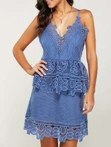 Strappy Peplum Lace Overlay Dress