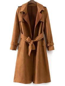Buy Faux Suede Long Trench Coat L KHAKI