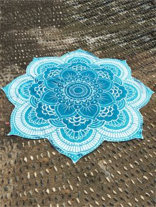 Lotus Flower Round Beach Throw