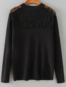 Loose Lace Spliced Sweater