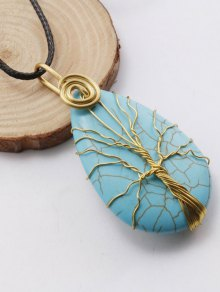 Life Tree Faux Turquoise Pendant Necklace