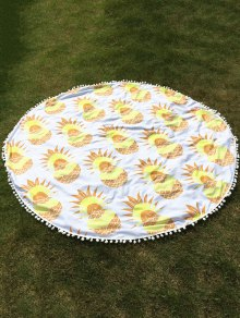 Pineapple Print Tassel Round Beach Throw