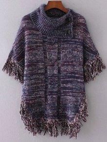 Buttoned Cloak Tassels Sweater