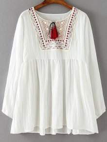 Ruched Loose Embroidered Blouse