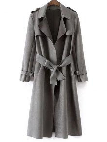 Faux Suede Long Trench Coat - Gray