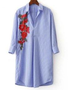 Three Quarter Sleeve Striped Appliqued Shirt - Blue And White