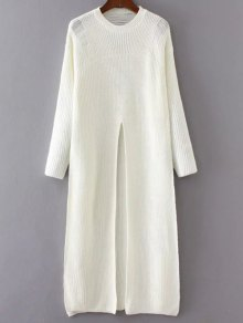 Front Slit Long Sweater - White