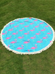Flamingo Print Tassel Round Beach Throw - Light Blue