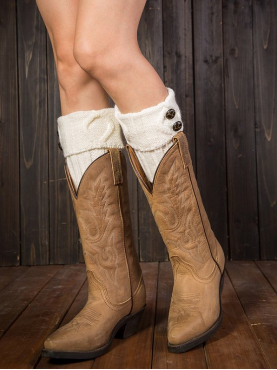 chic Buttons Rhombus Flanging Boot Cuffs - WHITE