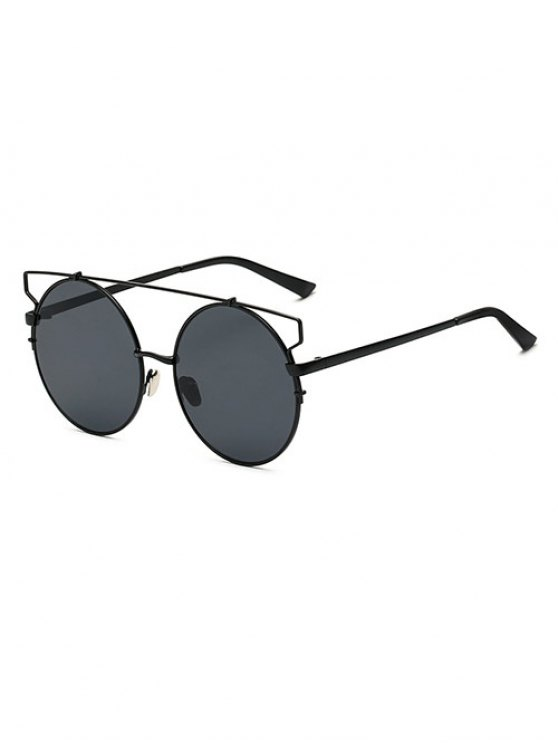 fashion Crossbar Round Sunglasses - BLACK