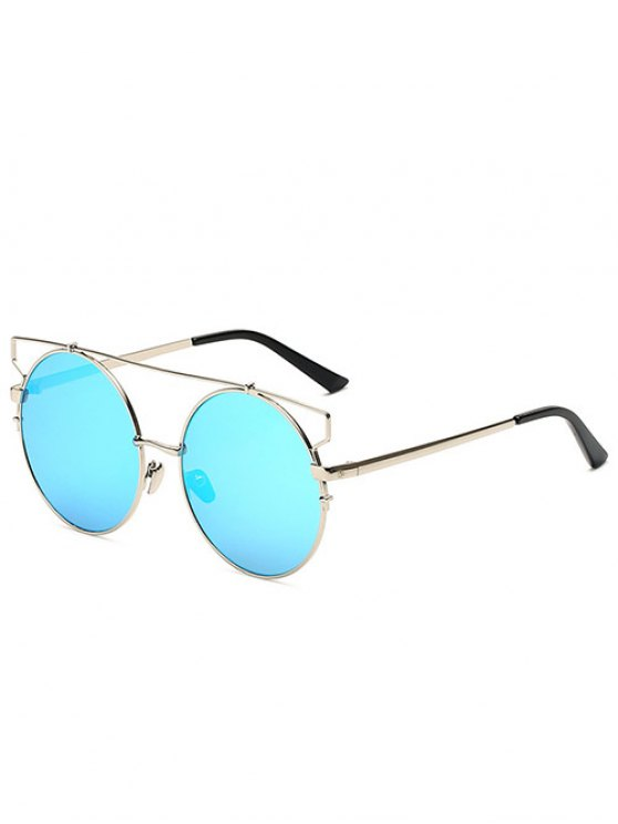 affordable Crossbar Round Mirrored Sunglasses - ICE BLUE