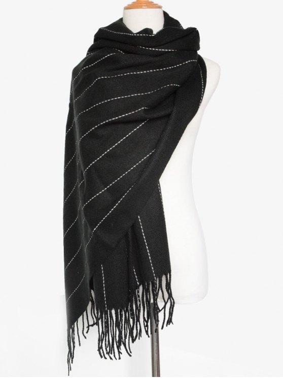 Fringe Stripe Scarf - BLACK  Mobile