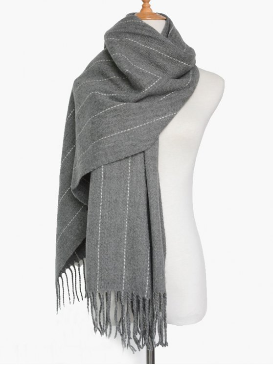 affordable Fringe Stripe Scarf - GRAY