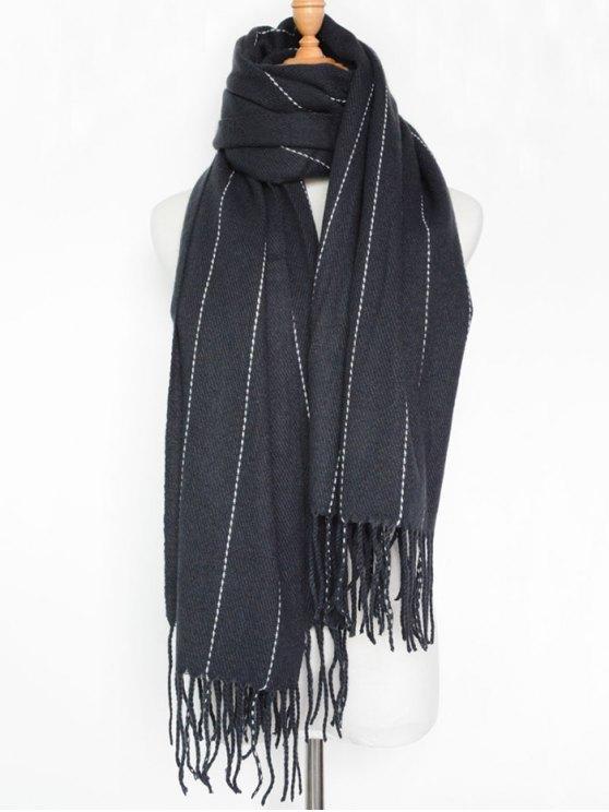 womens Fringe Stripe Scarf - PURPLISH BLUE