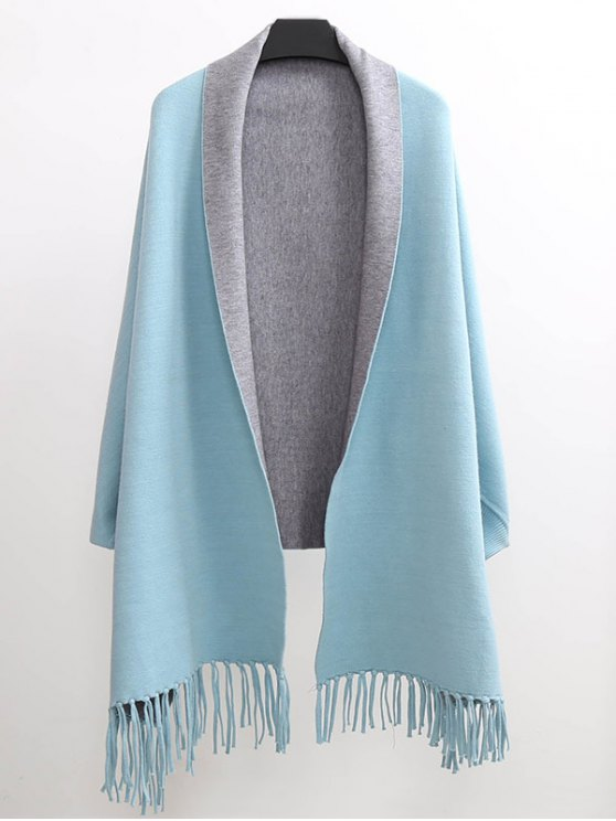 Tassel Lapel Sleeved Cape Pashmina - LIGHT BLUE ONE SIZE(FIT SIZE XS TO M) Mobile