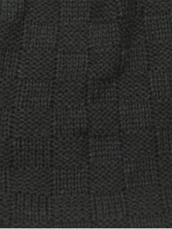 Plaid Weaving Double-Deck Knit Beanie - CADETBLUE  Mobile
