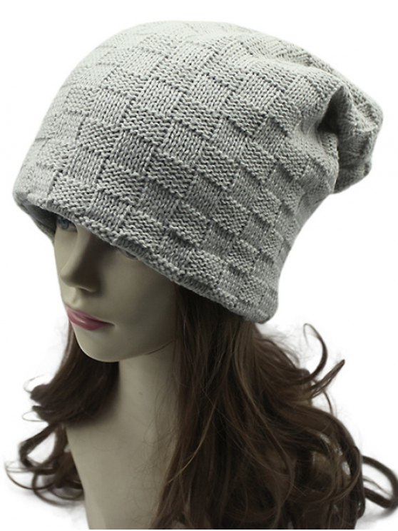 Plaid Tissage Double-Deck Knit Beanie - Griege