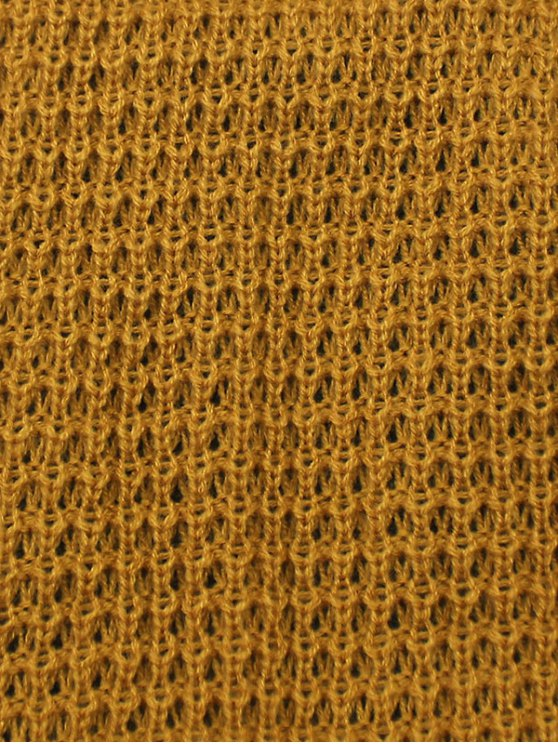 Openwork Weaving Double-Deck Knit Beanie - BLACK  Mobile