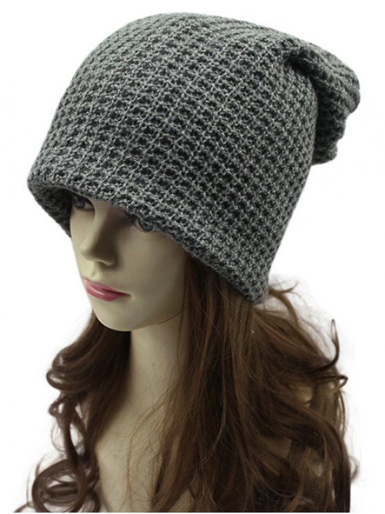 Openwork Weaving Double-Deck Knit Beanie - DEEP GRAY  Mobile