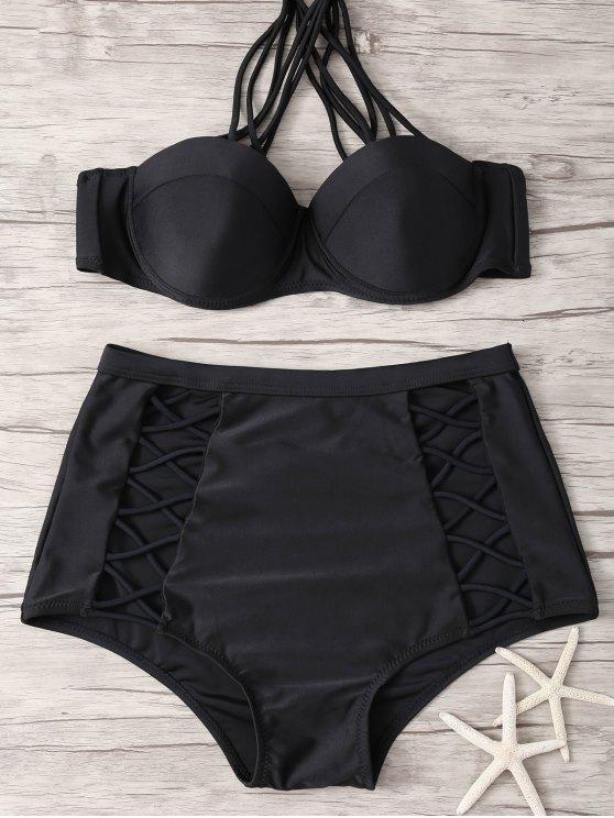 hot Crisscross High Waisted Bikini - BLACK XL