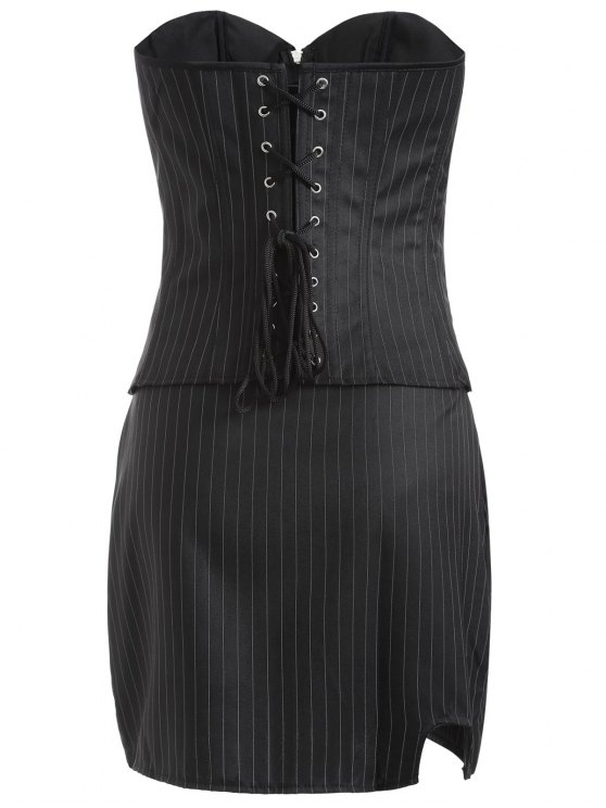 Striped Lace Up Three Piece Corset - BLACK L Mobile