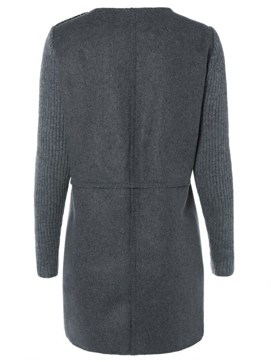 Knitted Sleeve Spliced Round Neck Coat - DEEP GRAY XL Mobile