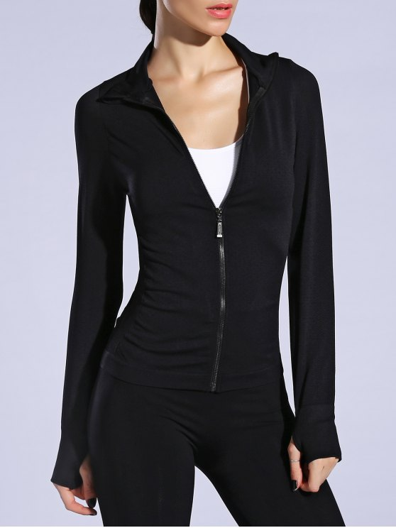 fancy Glove Sleeve Breathable Sports Jacket - BLACK L