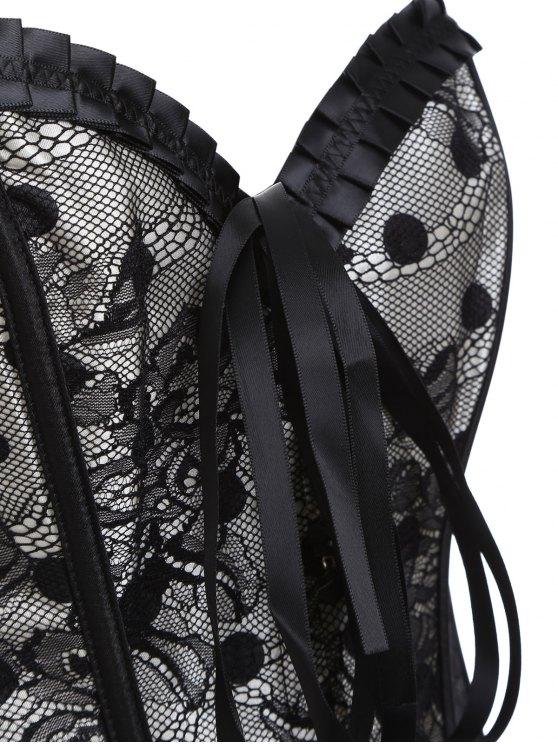 Steel Boned Sweetheart Neck Lace Corset - BLACK L Mobile