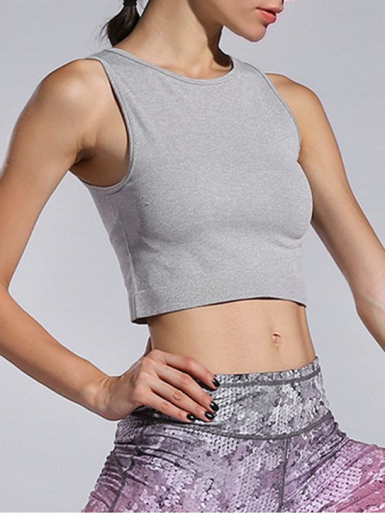 womens Sporty Cropped Tank Top - GRAY M