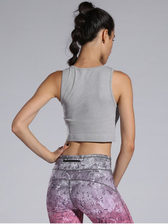 Sporty Cropped Tank Top - GRAY M Mobile