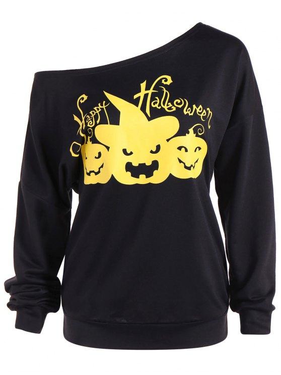 Sudadera Cuello Asimétrico Estampado 'Feliz Halloween' - Negro 2XL