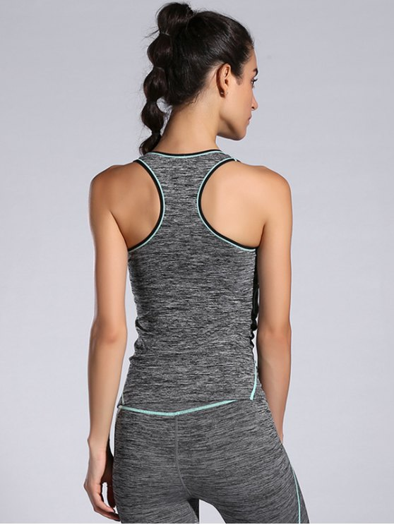 Slim Space-Dyed Contrast-Trim Sporty Tank Top - LIGHT BLUE M Mobile