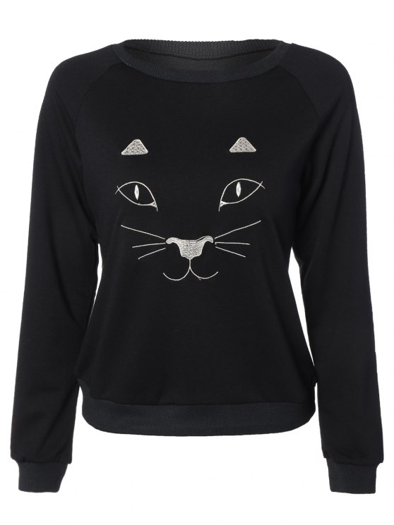 shop Kitten Embroidered Funny Sweatshirt - BLACK L