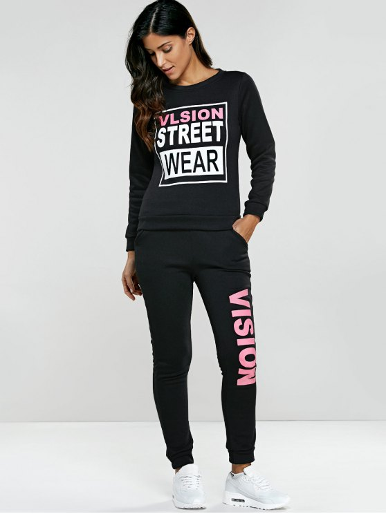 Letter Graphic Sweatshirt and Sweatpants - BLACK L Mobile