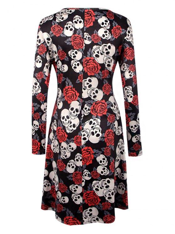 Halloween Skull Print Long Sleeve Dress - BLACK S Mobile