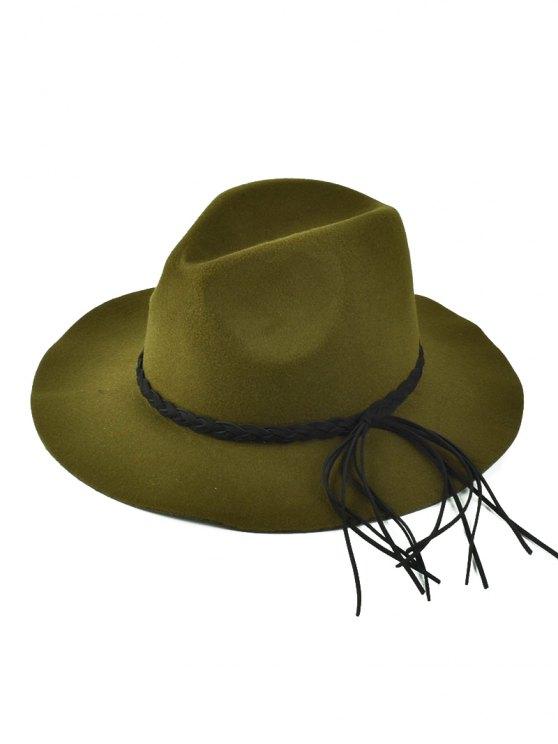 Floppy Braided Tassel Felt Hat - OLIVE GREEN  Mobile