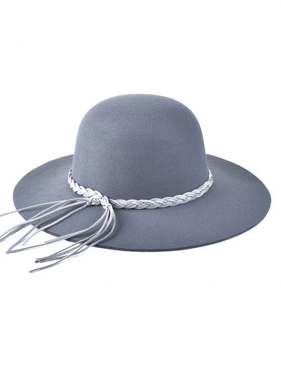 womens Braided Band Floppy Hat - GRAY