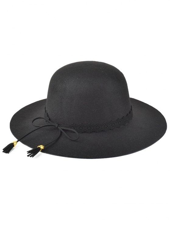 best Bowknot Tassel Felt Hat - BLACK