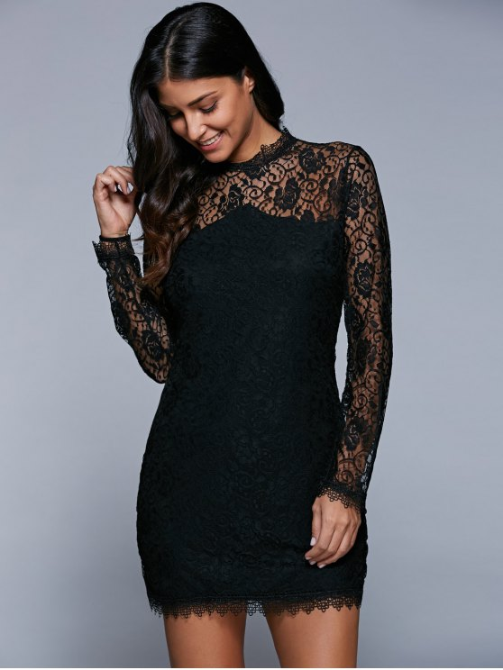 Bodycon See-Through Dress - BLACK L Mobile